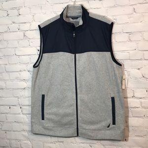 NWT Nautica Men's XXL Navy & Gray Fleece Zip Vest